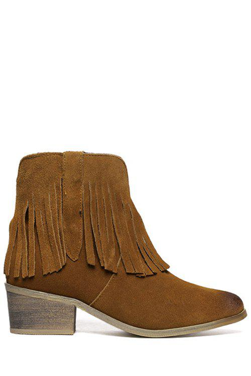 Casual Fringe and Suede Design Women's Ankle Boots - DEEP BROWN 38