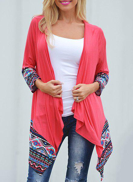 Trendy Geometric Printed Spliced Irregular Cardigan For Women geometric pattern irregular front fly cardigan