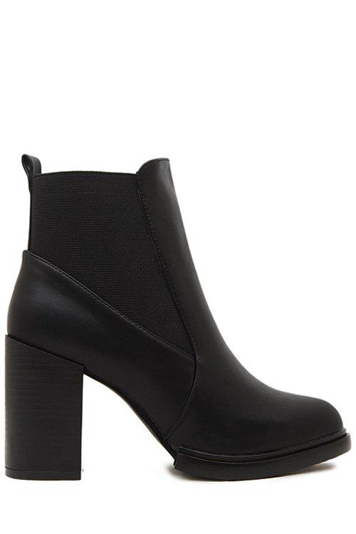 Simple Style Elastic and Splicing Design Women's Short Boots - BLACK 36