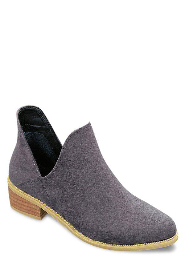 Concise Suede and Hollow Out Design Women's Short Boots - GRAY 38
