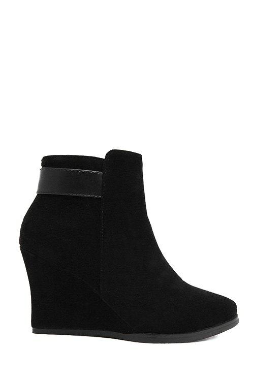 Vintage Suede and Solid Color Design Women's Ankle Boots - BLACK 37