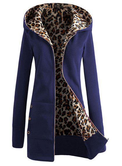 Attractive Hooded Inside Leopard Printed Thick Hoodie For Women - DEEP BLUE M