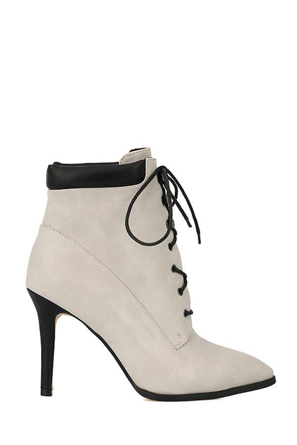 Simple Style Lace-Up and Rivets Design Women's High Heel Boots - OFF WHITE 39