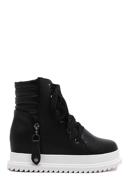 Simple Style Lace-Up and Pendant Design Women's Ankle Boots - BLACK 38