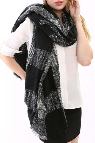Chic Latticed Pattern Fringed Edge Knitted Scarf For Women