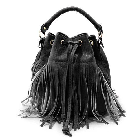 Stylish Fringe and Candy Color Design Tote Bag For Women - BLACK