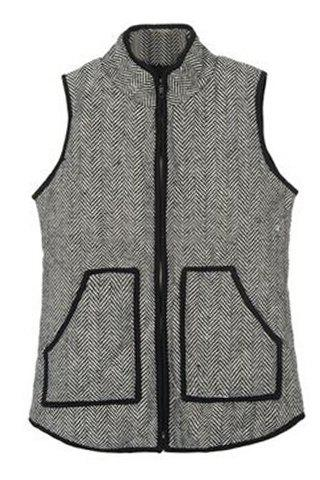 Fashionable Women's Stand Collar Quilted Waistcoat - GRAY M