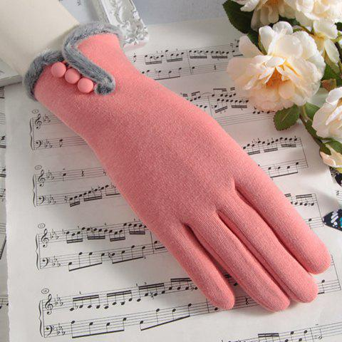 Pair of Chic Buttons and Faux Fur Edge Embellished Touch Screen Women's Gloves