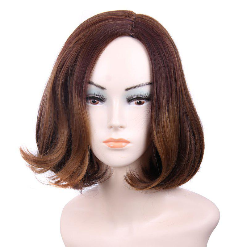 Nobby Medium Middle Part Shaggy Brown Ombre Capless Straight Tail Adduction Synthetic Women's Wig - OMBRE