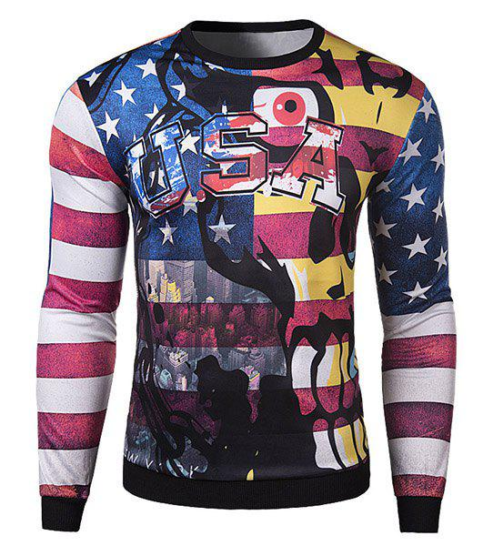 3D Funny Cartoon Letters Star Stripes Print Rib Spliced Slimming Round Neck Long Sleeves Men's Sweatshirt - COLORMIX 2XL