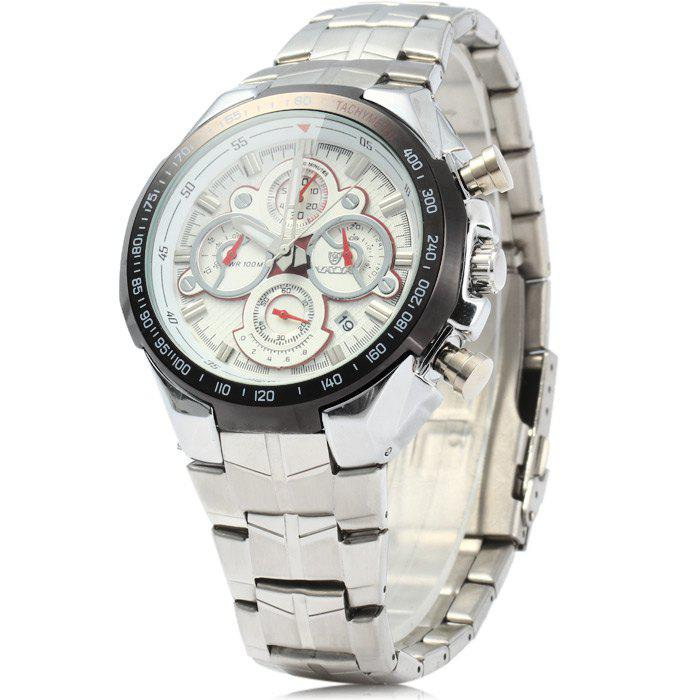 Valia 8609 100M Water Resistance Date Function Male Japan Quartz Watch with Luminous Analog Stainless Steel Strap Working Sub-dials - WHITE
