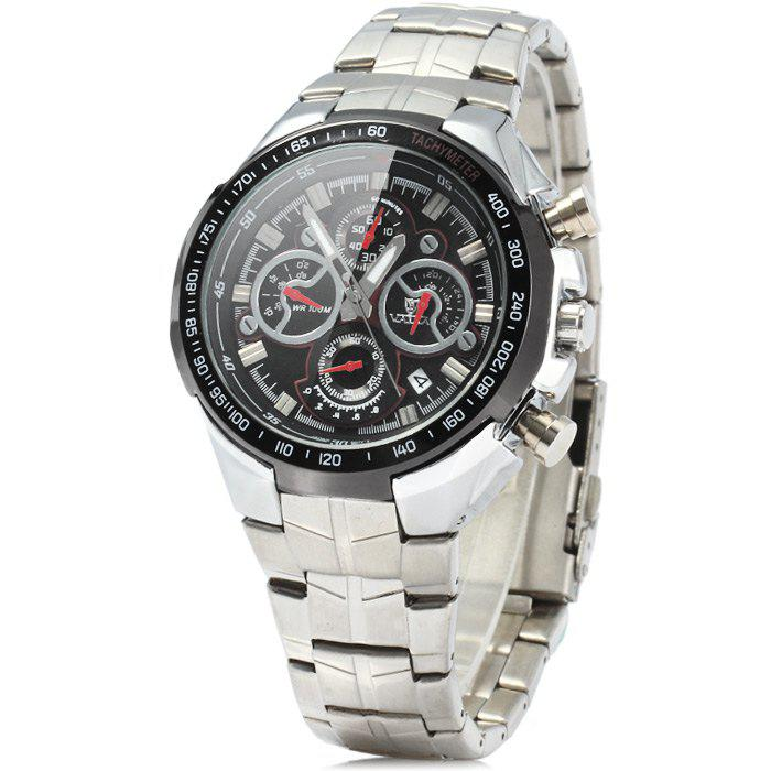Valia 8609 100M Water Resistance Date Function Male Japan Quartz Watch with Luminous Analog Stainless Steel Strap Working Sub-dials - BLACK