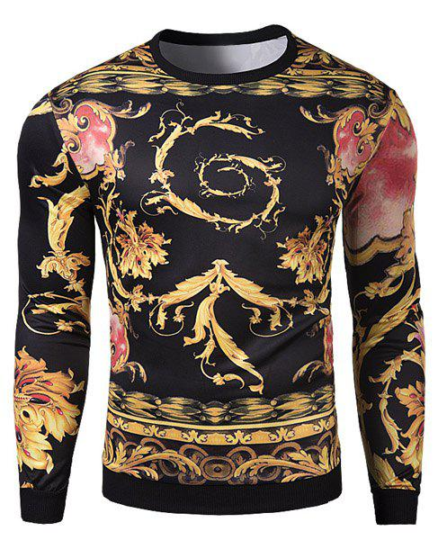 3D Abstract Totem Print Rib Splicing Slimming Round Neck Long Sleeves Men's Cool Sweatshirt - XL COLORMIX