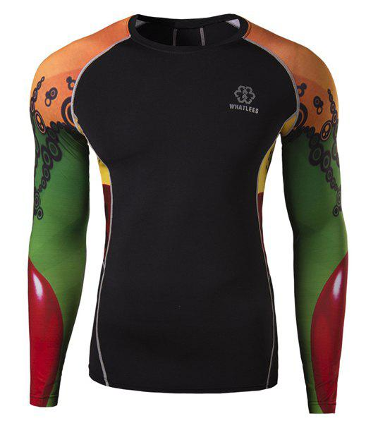 Active Suture Stripes Spliced Round Neck Colorized 3D Printed Long Sleeves Men's Sweat Dry Tight T-Shirt - BLACK L