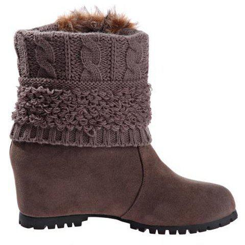Trendy Faux Fur and Splice Design Women's Snow Boots