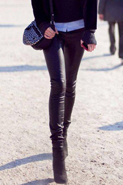 Casual Women's Solid Color Slimming PU Leather Skinny Pants - BLACK S