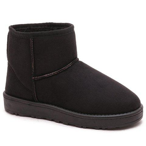 Laconic Solid Color and Suede Design Women's Snow Boots - BLACK 37