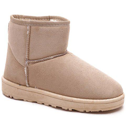 Laconic Solid Color and Suede Design Women's Snow Boots