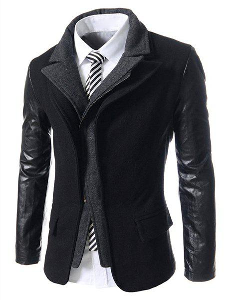 Faux Twinset Turn-down Collar Hit Color Zipper Fly Fitted Men's PU Leather Long Sleeves Coat - BLACK L