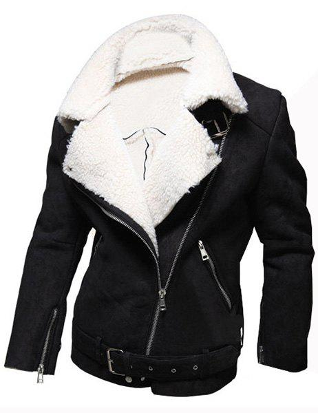 Casual Wool Collar Elegant Belt Inclined Top Fly Multi-Zipper Slimming Men's Long Sleeves Coat