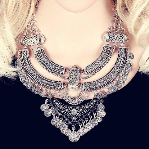 Chic Rhinestone Tassel Layered Coin Necklace For Women - SILVER