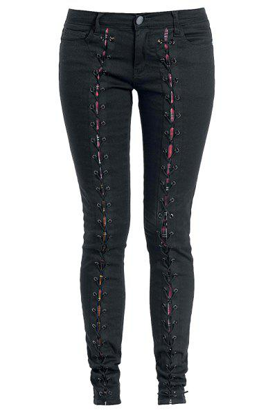 Attractive Lace-Up Black Bodycon Pencil Jeans For Women - BLACK 36