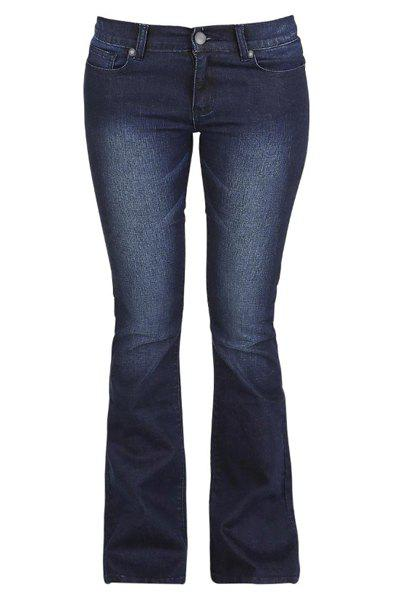 Chic Elastic Low-Waist Bodycon Flare Jeans For Women - BLUE 3XL