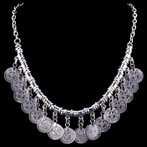 Coin Fringed Necklace - SILVER
