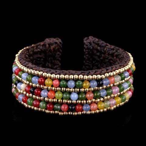 Classic Faux Crystal Beads Weaved Wax Cord Women's Cuff Bracelet - COLORMIX