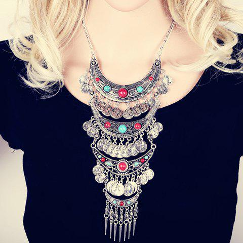 Vintage Pointed Cone Rivet Coin Layered Tassel Necklace For Women