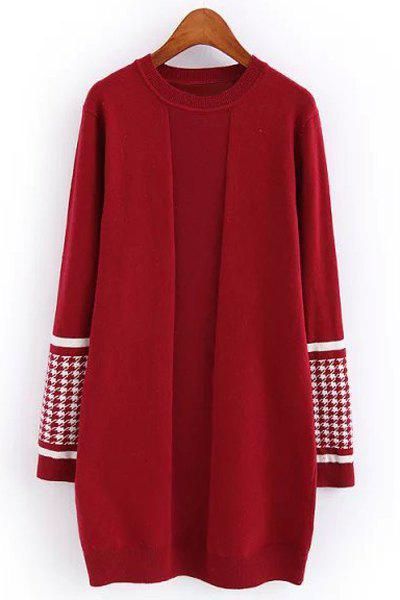 Sweet Round Collar Houndstooth Spliced Long Sleeve Knitted Dress For Women - RED ONE SIZE(FIT SIZE XS TO M)