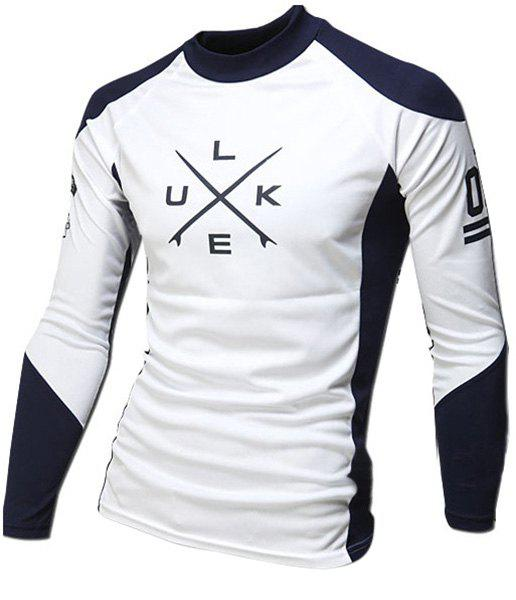 Classic Color Spliced Letters Star Stripes Print Close-Fitting Round Neck Long Sleeves Men's Sports T-Shirt - CADETBLUE 2XL