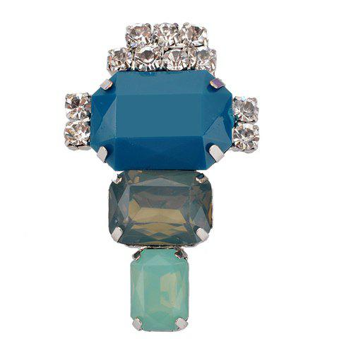 Stylish Rhinestone Faux Crystal Square Brooch For Women - BLUE