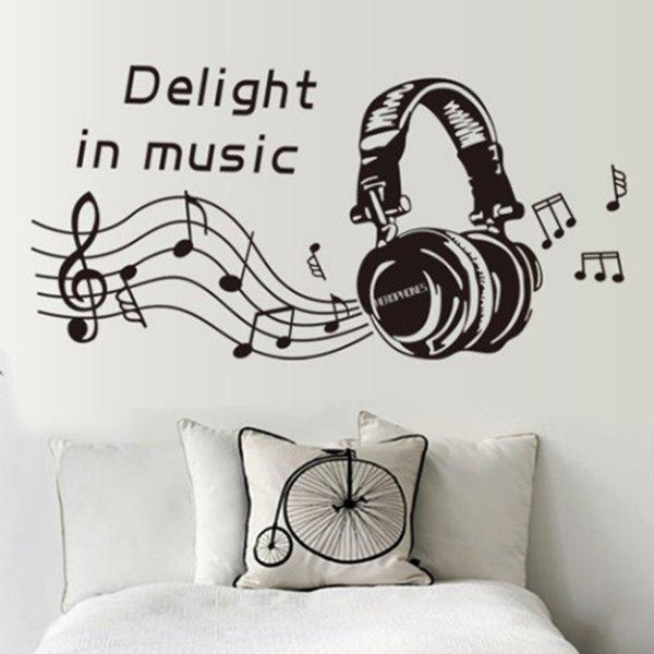 Simple Headset and Music Notes Pattern Decoration PVC Decorative Wall Stickers - BLACK
