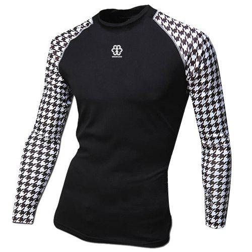 Houndstooth Long Sleeves Suture Stripes Spliced Hit Color Round Neck Men's Sweat Dry Tight T-Shirt - BLACK L