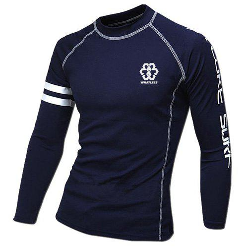 Color Block Stripes Spliced Letters Print Round Neck Long Sleeves Men's Sweat Dry Tight T-Shirt - CADETBLUE M