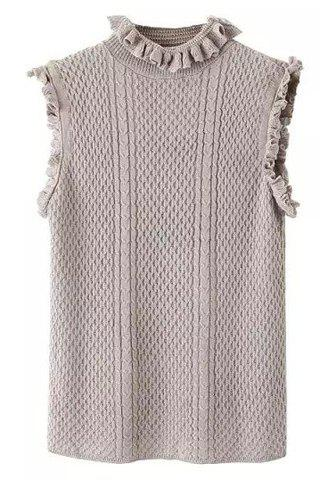Stylish Sleeveless Ruff Collar Ruffled Solid Color Women's Knitwear - GRAY L
