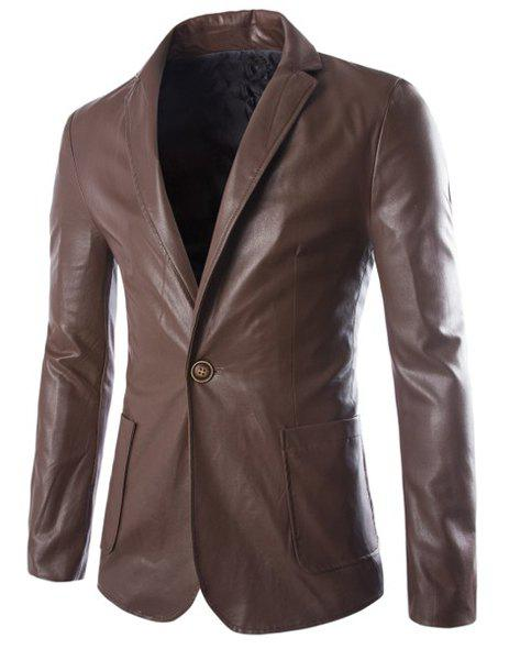 One Button Single-Breasted Stereo Patch Pocket Side Slit Lapel Long Sleeves Men's PU Leather Coat - COFFEE L
