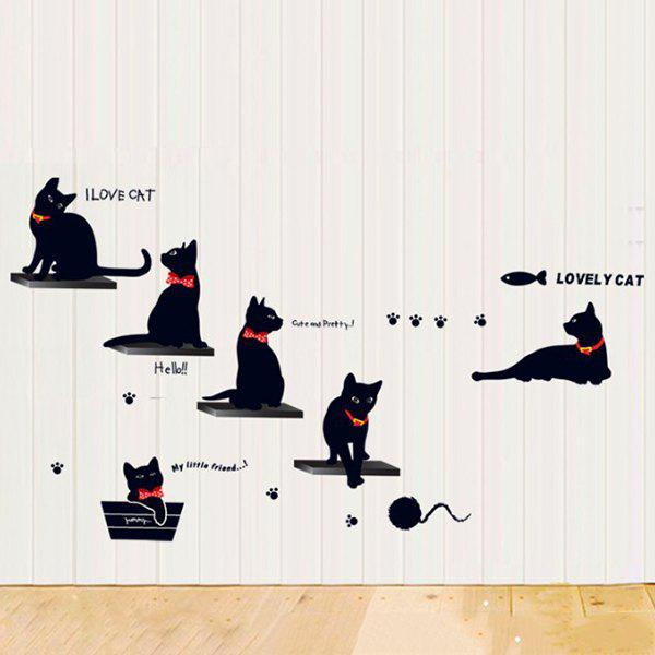 Simple Cat Pattern Decoration PVC Decorative Wall Stickers - BLACK