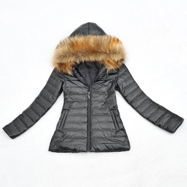 Fashionable Hooded Faux Fur Embellished PU Leather Long Sleeve Women's Coat