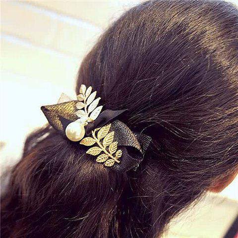 Vintage Faux Pearl Leaf Bow Hairgrip For Women - BLACK/GOLDEN