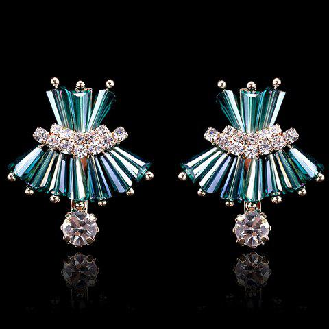 Pair of Delicate Faux Crystal Decorated Dress Shape Earrings For Women