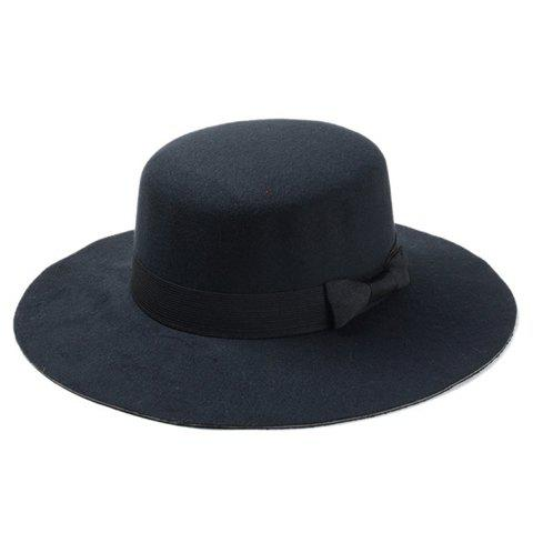 Chic Bow Lace-Up Embellished Flat Top Felt Jazz Hat For Women