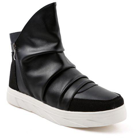 Casual Solid Color and Zipper Design Boots For Men - 42 BLACK
