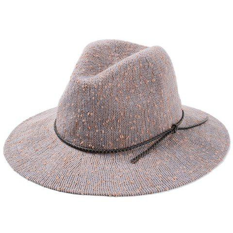 Chic Rope Lace-Up Embellished Loop Yarn Women's Knitted Jazz Hat - GRAY