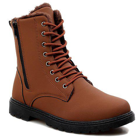 Stylish Solid Color and Stitching Design Combat Boots For Men - YELLOW 44
