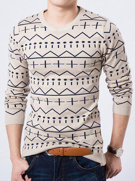 Round Neck Geometric Pattern Long Sleeve Slimming Men's Sweater - WHITE M