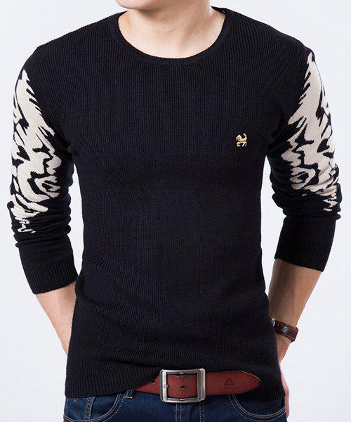 Round Neck Color Block Printed Long Sleeve Slimming Men's Sweater - BLACK M