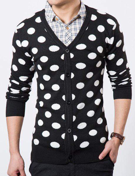 V-Neck Polka Dot Pattern Long Sleeve Slimming Men's Cardigan - BLACK XL