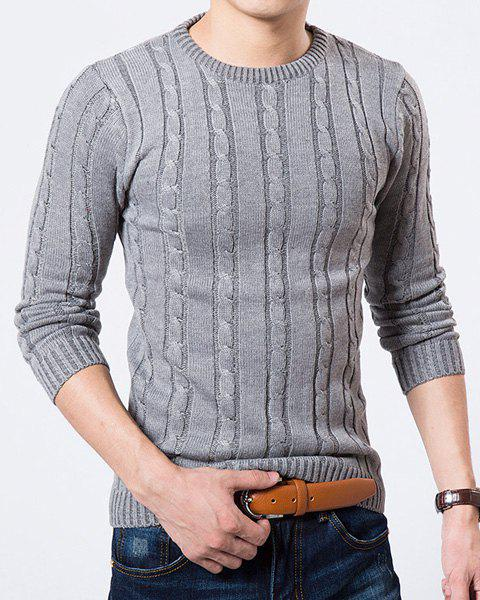 Round Neck Kink Design Solid Color Long Sleeve Slimming Men's Sweater - GRAY M
